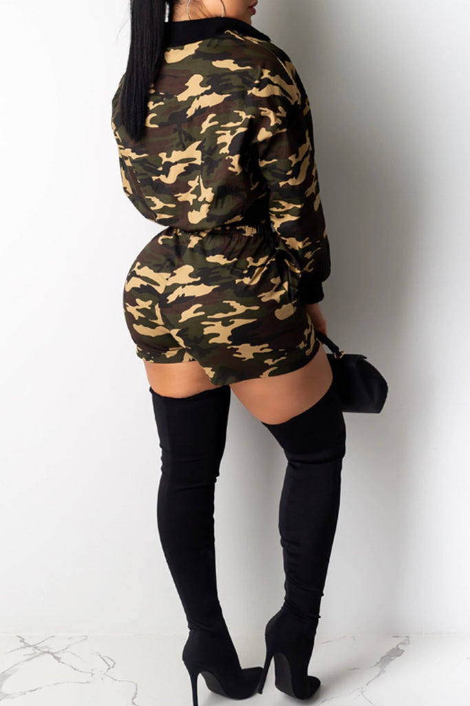 Camouflage Printed Zipper Collar Two Piece Sets