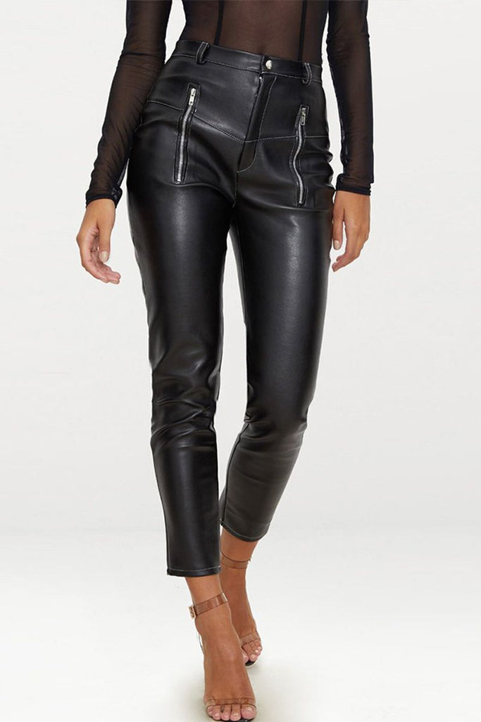 Solid Color PU Zipper Long Pants