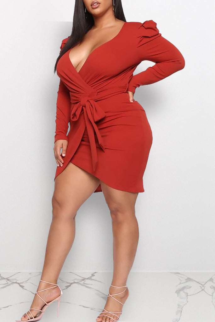 Asymmetric Hem Plus Size Deep V Neck Midi Dress