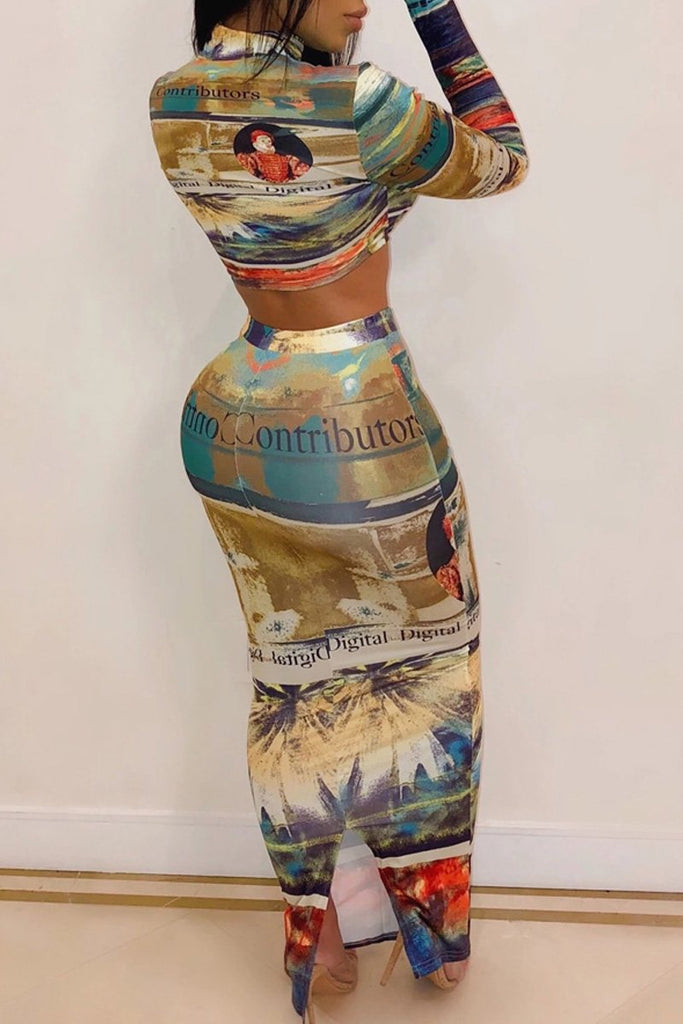 Placement Print High Neck Two Piece Maxi Dress