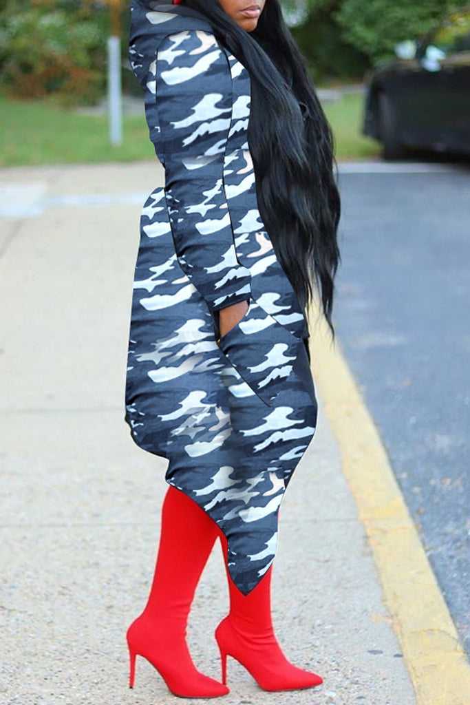 Camouflage Printed Asymmetric Hem Hooded Coat