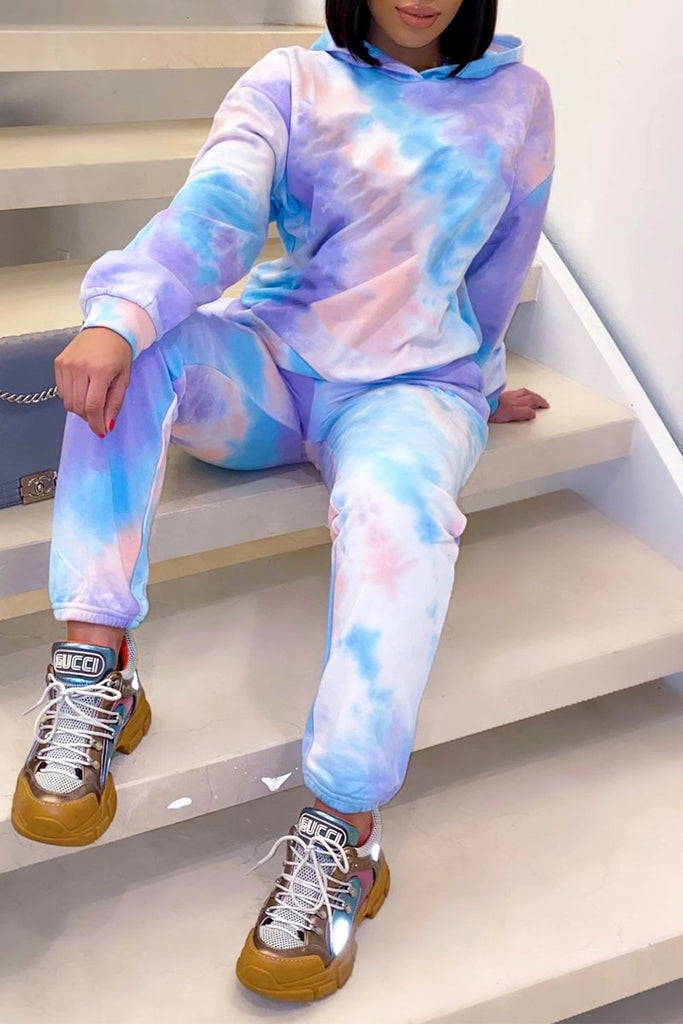 Thicken Tie Dye Hooded Collar Top & Pants