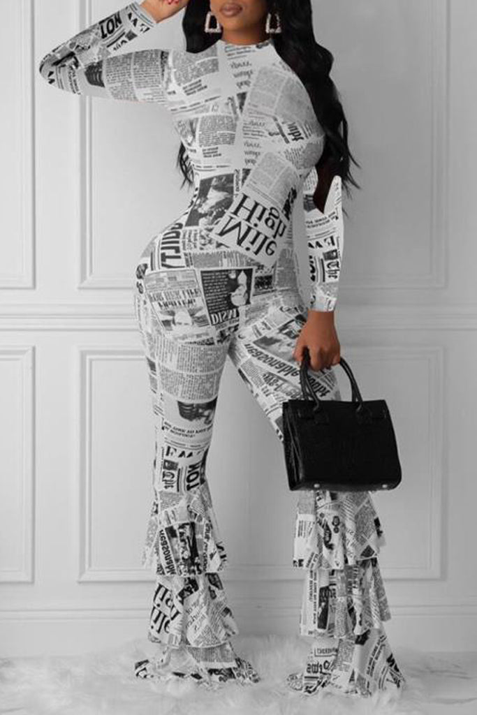 Newspaper Print Flounced Long Sleeve Jumpsuit