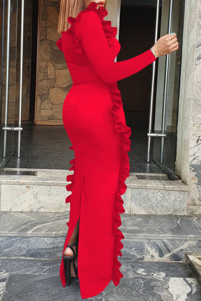Ruffle Solid Color Long Sleeve Maxi Dress