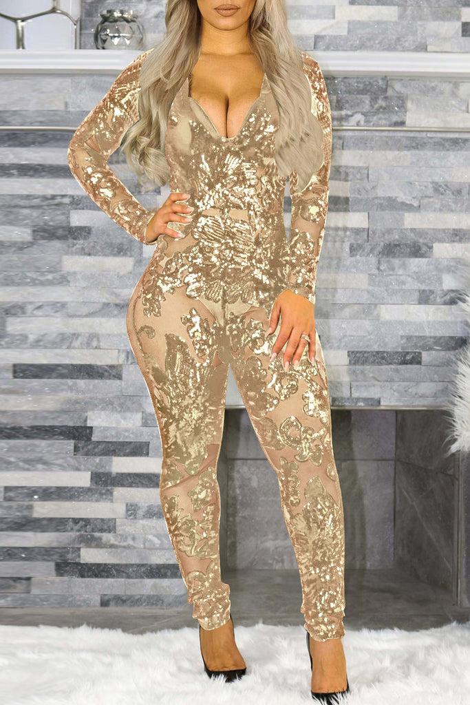 Deep V Neck See-through Sequin Jumpsuit