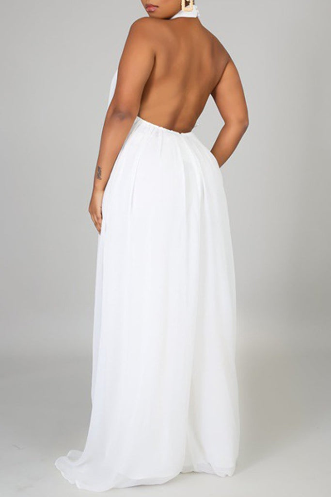 Halter Neck Open Back Jumpsuit Without Belt
