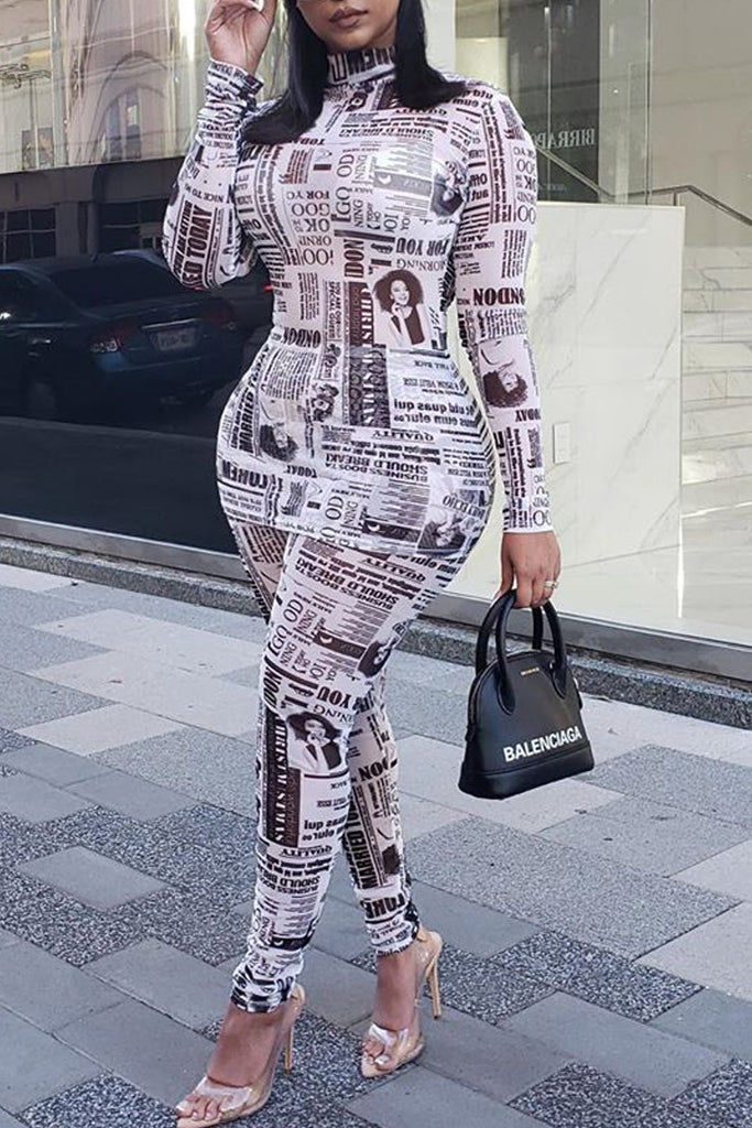 Newspaper Print High Neck Two Piece Sets