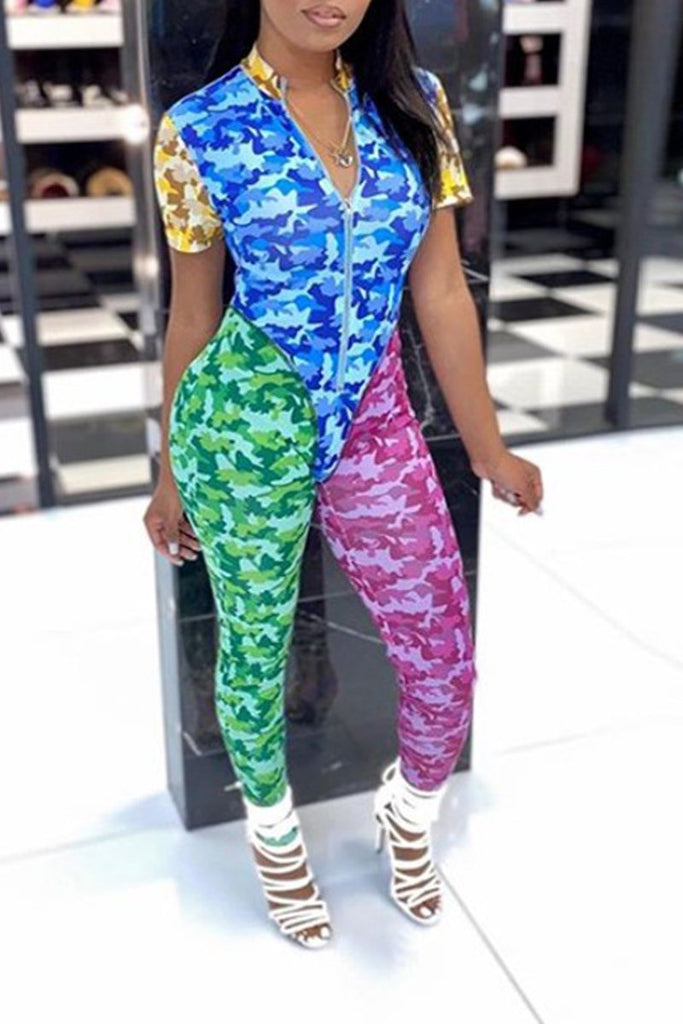 Color Block Camouflage Printed Zipper Two Piece Outfits