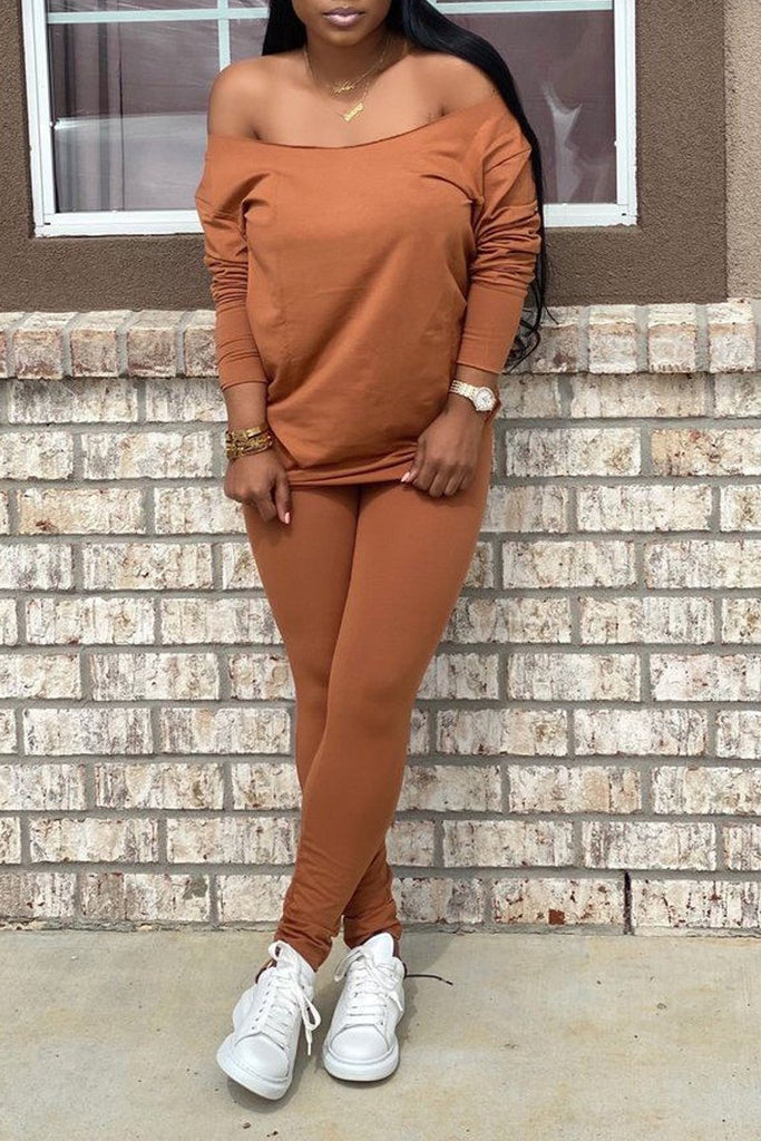 Off The Shoulder Solid Color Top & Pants With Head Scarf