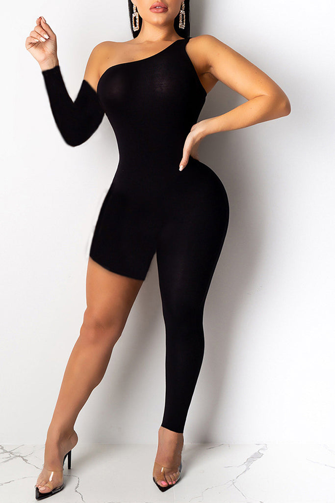 Asymmetric Solid Color One Sleeve Jumpsuit