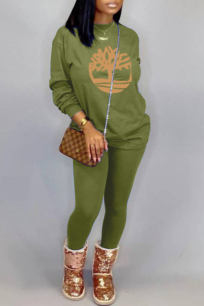Offset Printing Casual Long Sleeve Top & Pants