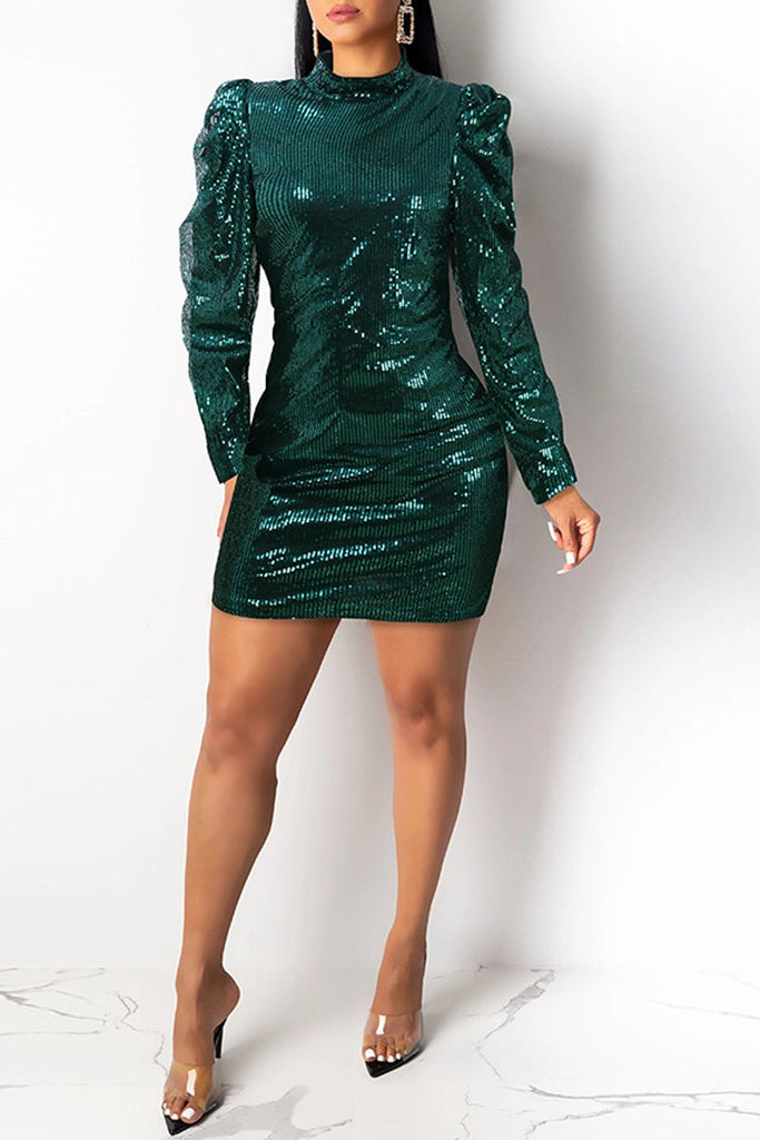 Sequins Long Sleeve Ruffle Club Mini Dress