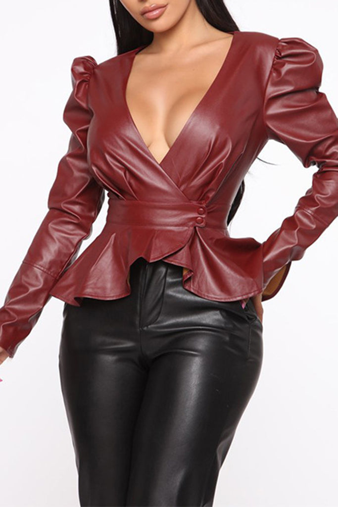 Ruffled Sleeve V-Neck Leather Top