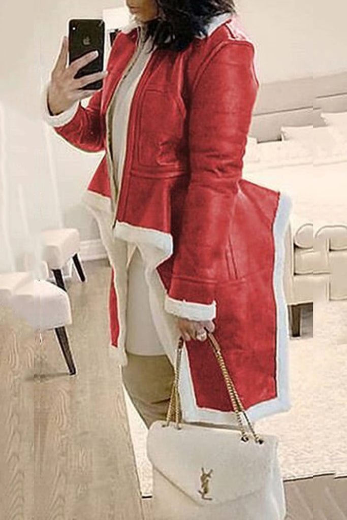 Plus Size Plush Leather Splicing Irregular Hem Coat