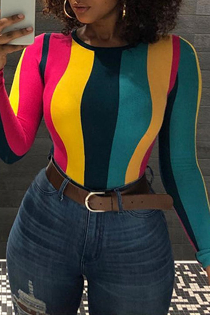 Plus Size Rainbow Striped Long Sleeve Top