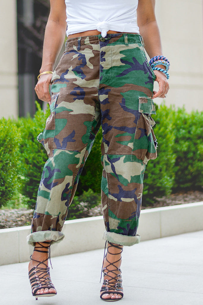 Camouflage Printed Pocket Cargo Pants