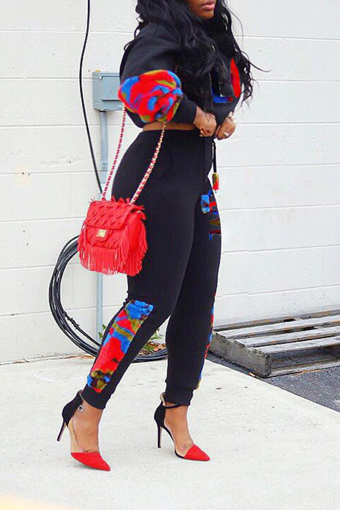 Color Block Colorful Letter Pocket Two Piece Outfits