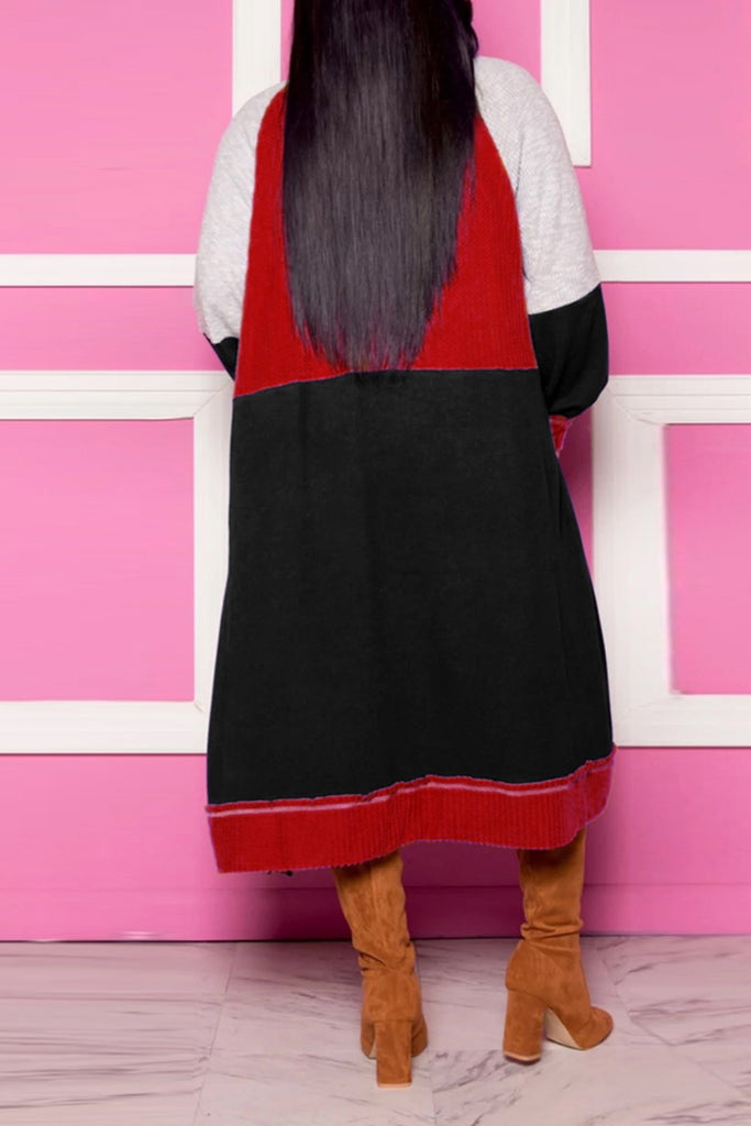 Knitted Patchwork Pocket Long Sleeve Coat