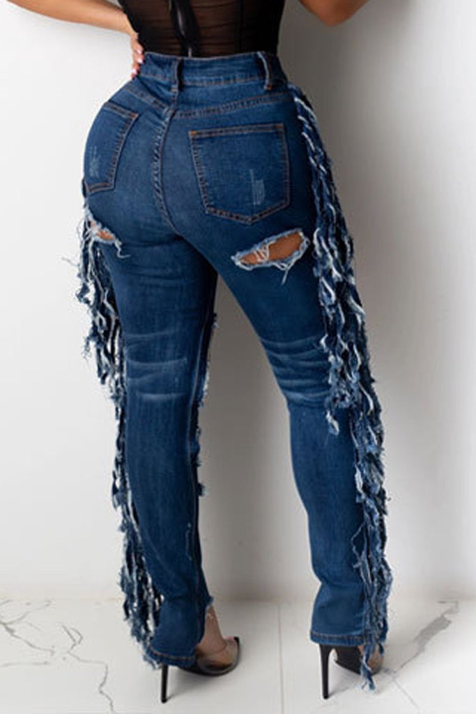 Hole Distressed Plus Size Tassel Hem Jeans