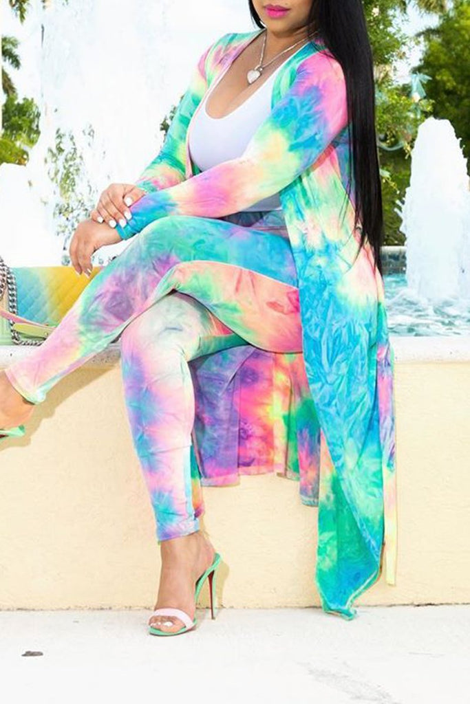 Tie Dye Plus Size Long Sleeve Casual Two Piece Outfits