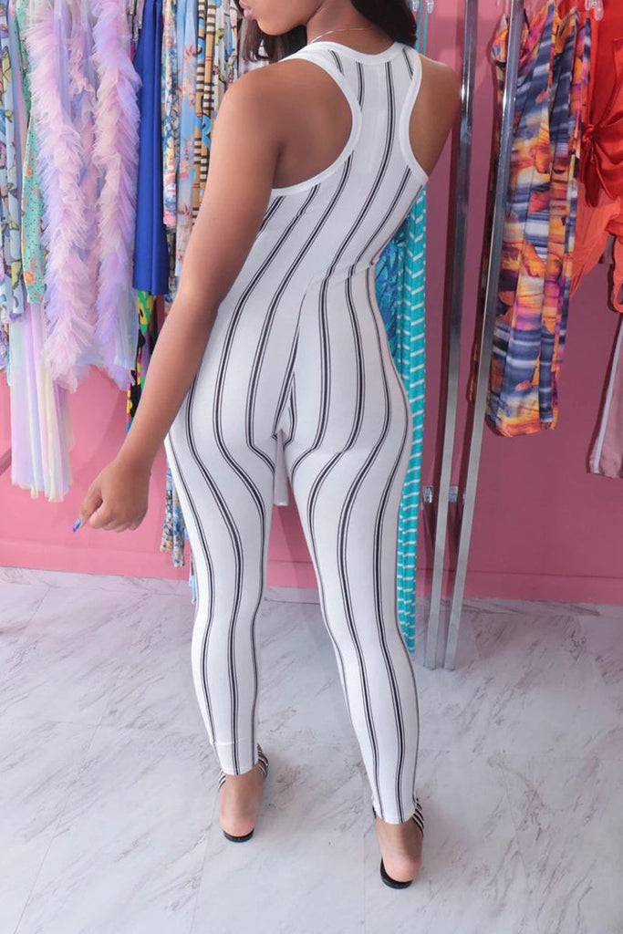 Scoop Neck Striped Sleeveless Jumpsuit