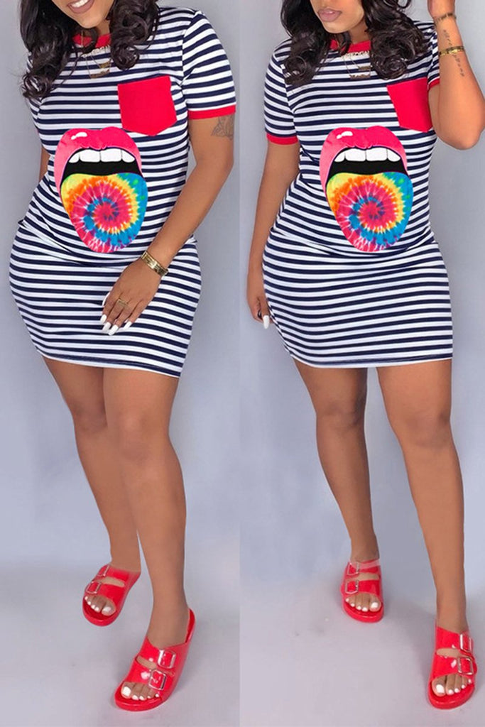 Striped Gradient Lip Short Sleeve Dress