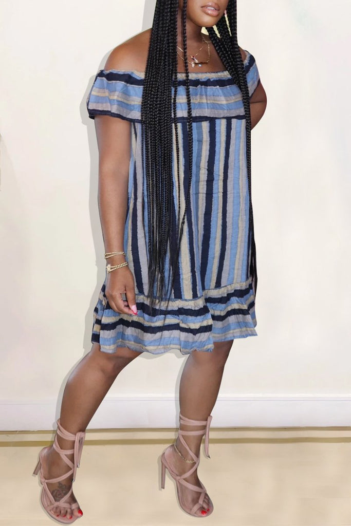 Stripe Print Off The Shoulder Midi Dress