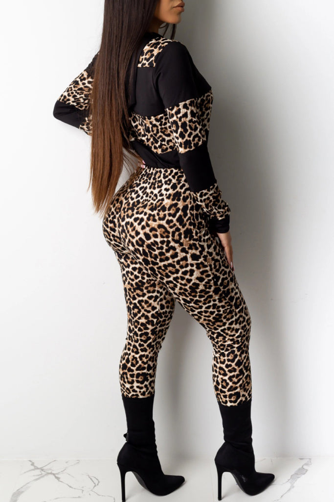 Leopard Print Hooded Collar Drawstring Top & Pants