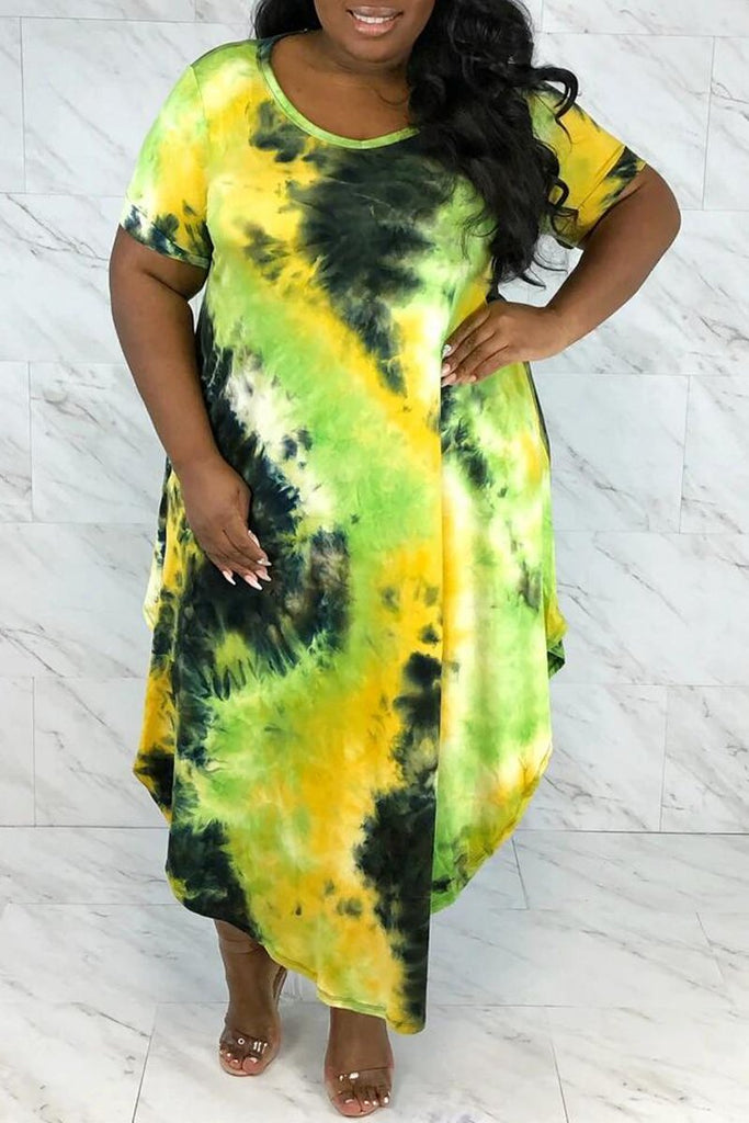 Plus Size Tie Dye Asymmetric Hem Maxi Dress