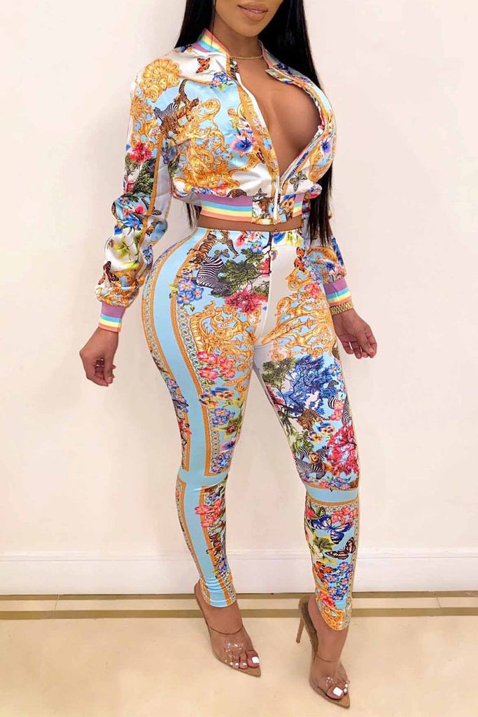 Printed Zipper Collar Casual Two Piece Sets