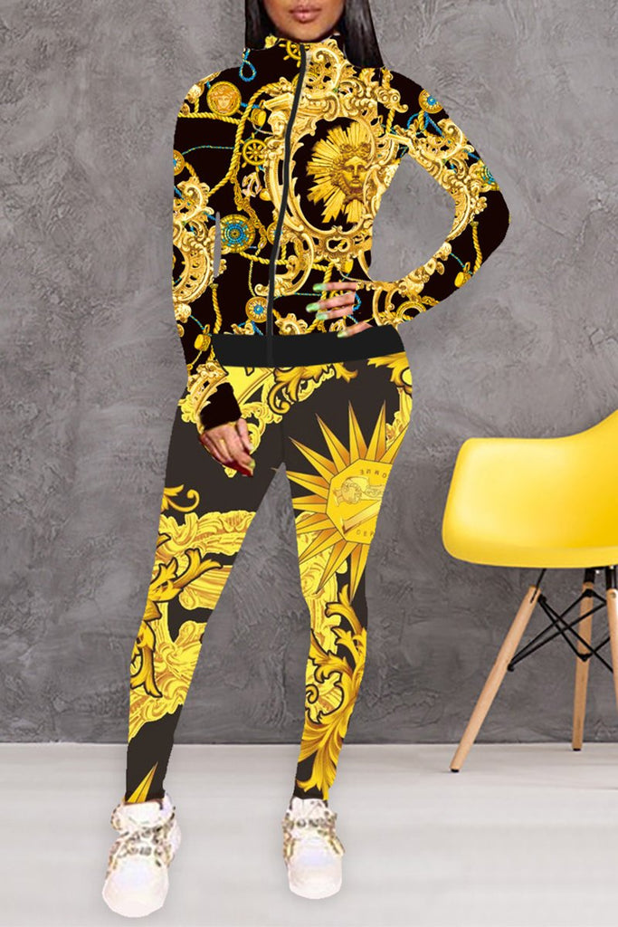 Digital Print Zipper Up Long Sleeve Two Piece Sets