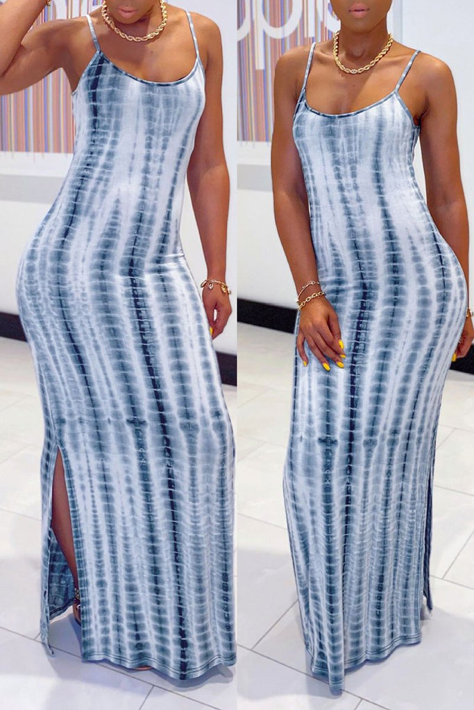 Plus Size Tie Dye Sleeveless Maxi Dress