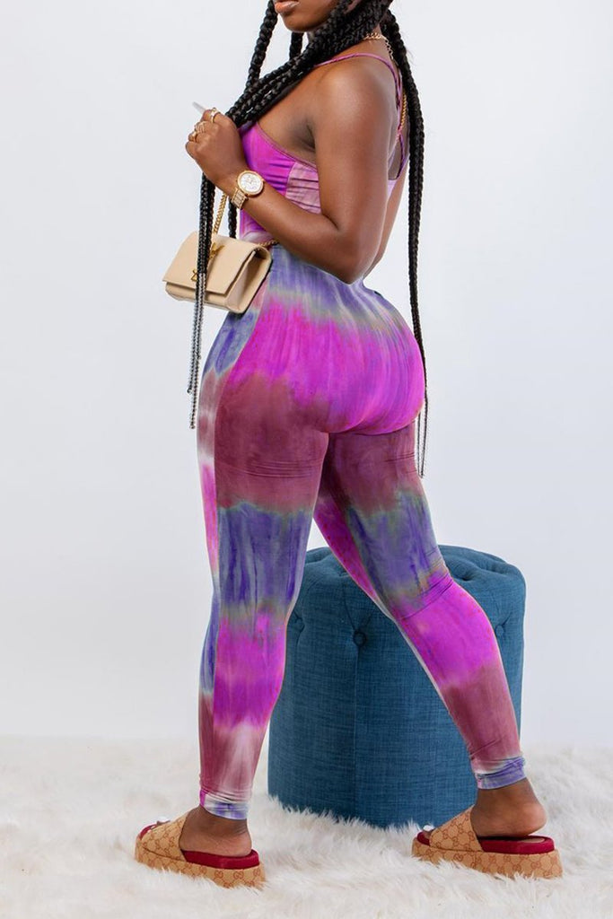Gradient Print Sleeveless Bodycon Jumpsuit