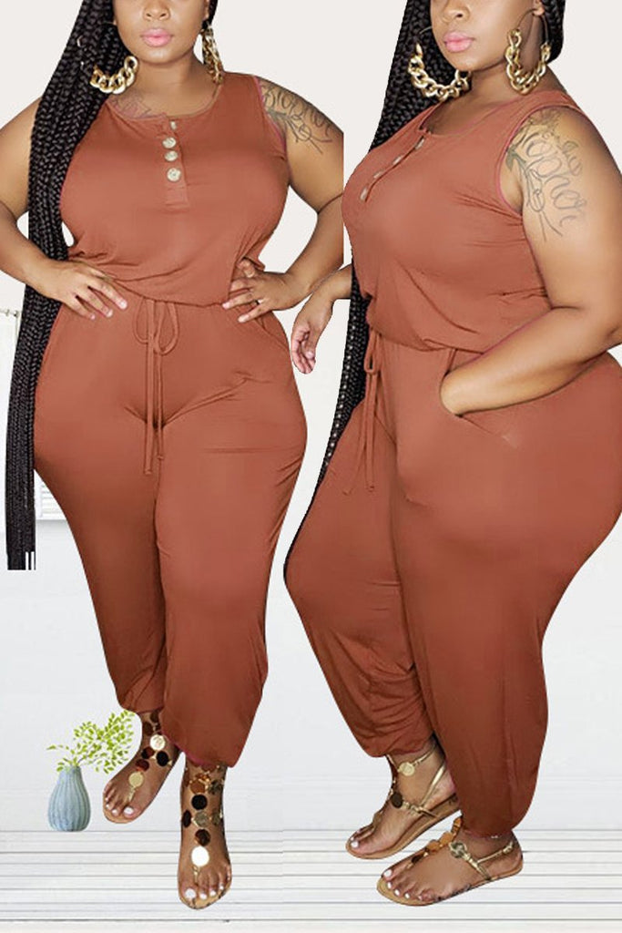 Plus Size Drawstring Waist Sleeveless Jumpsuit