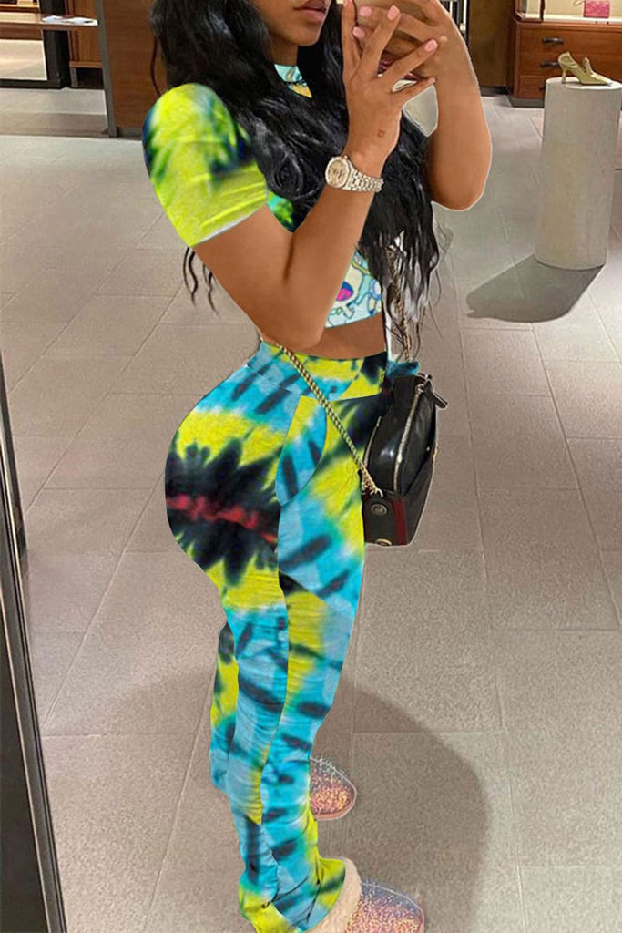 Cartoon Print Tie Dye Two Piece Sets