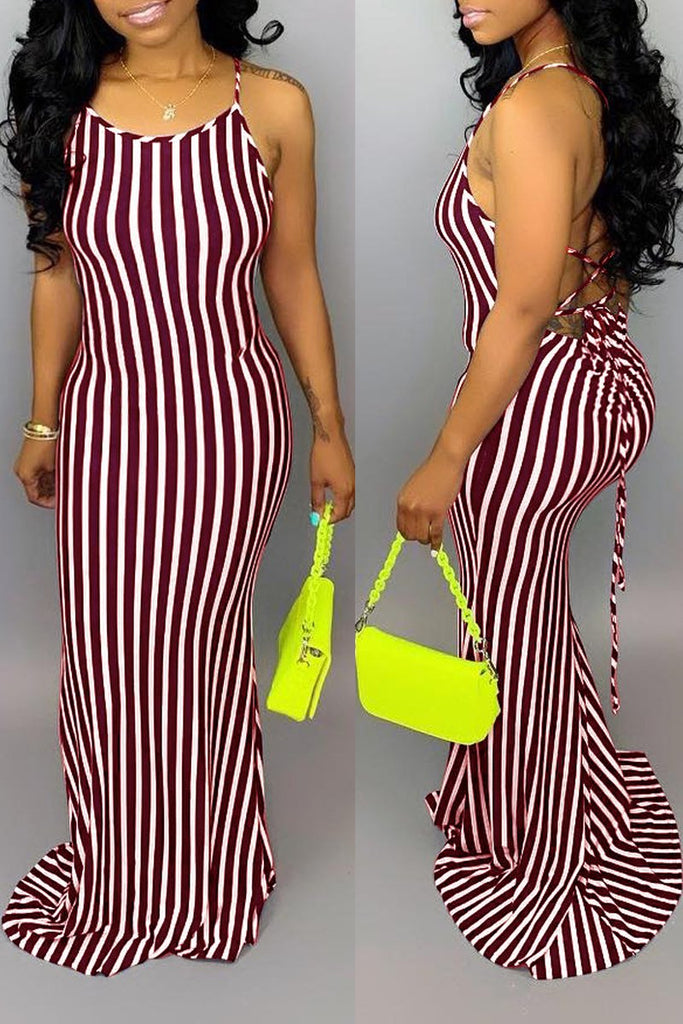Stripe Print Back Bandage Spaghetti Straps Maxi Dress