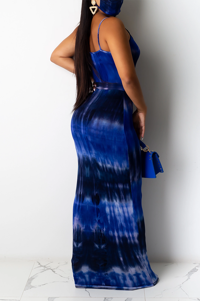Tie Dye Sleeveless Maxi Dress With Belt