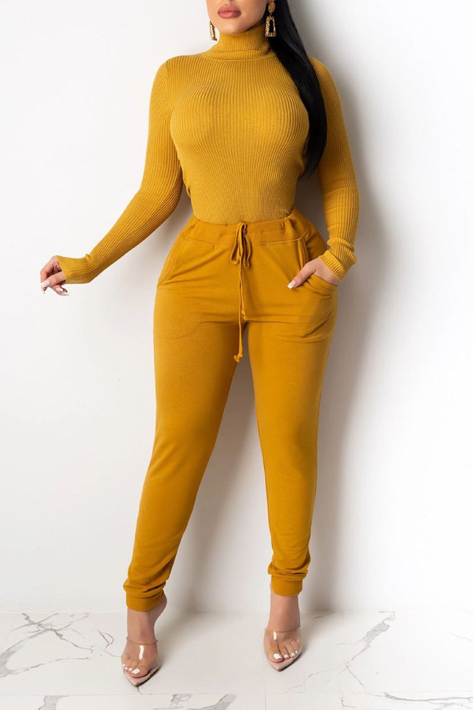 Solid Color Rib Pocket Two Piece Outfits