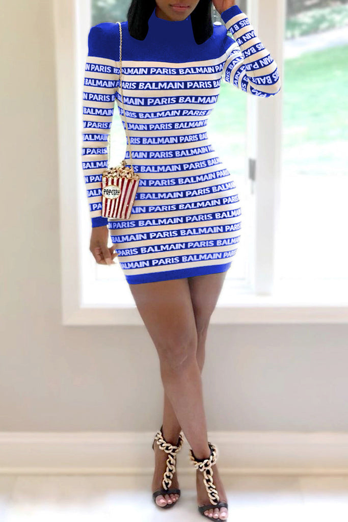 Letter Printed Stripe Patchwork Mini Dress