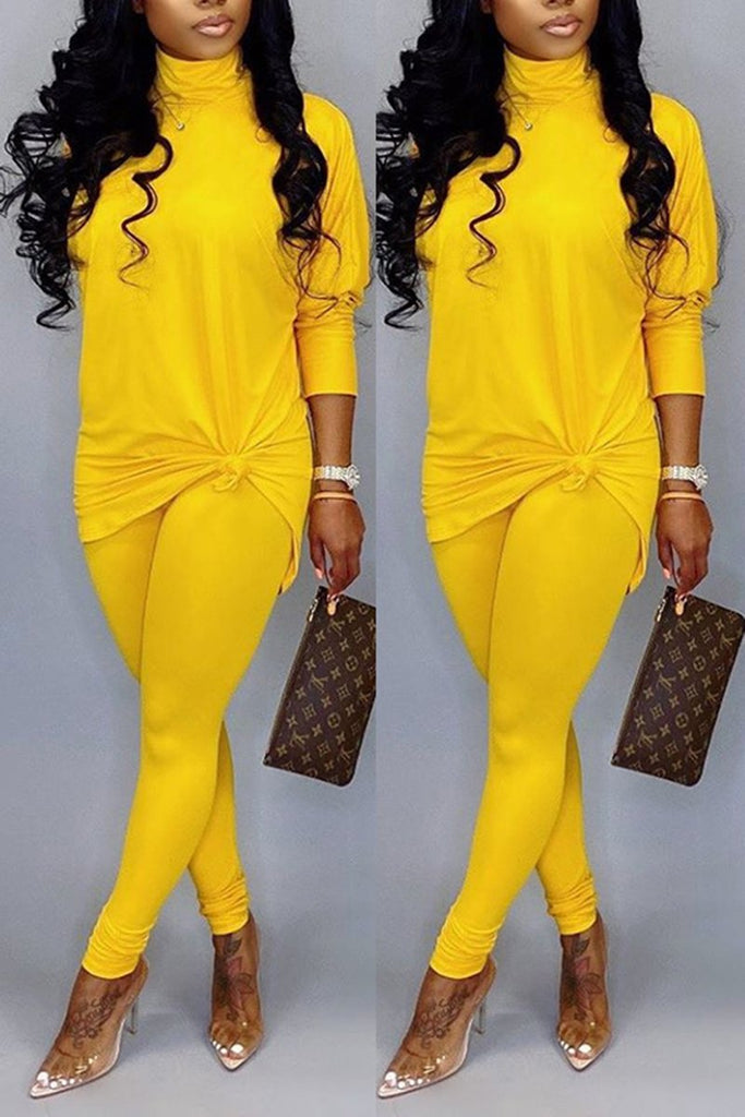 Solid Color Knotted High Neck Two Piece Sets