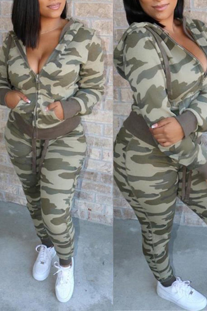 Camouflage Print Hooded Zipper Up Two Piece Sets
