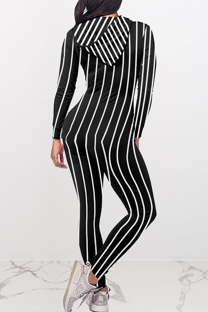 Striped Hooded Collar Zipper Jumpsuit
