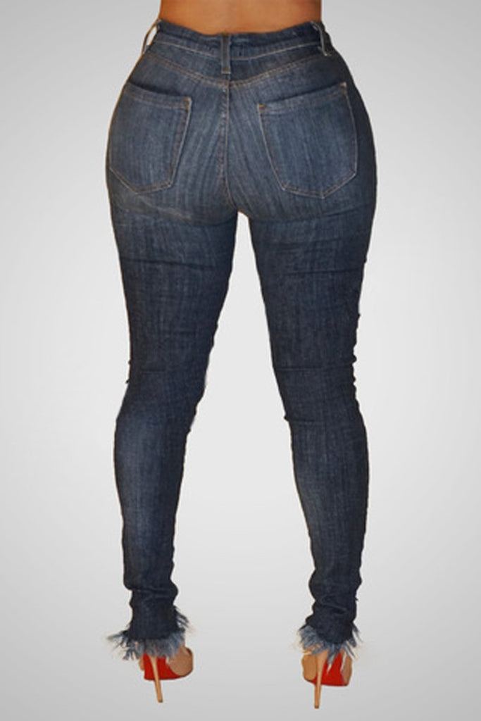 Denim Hole Distressed Pocket Pants
