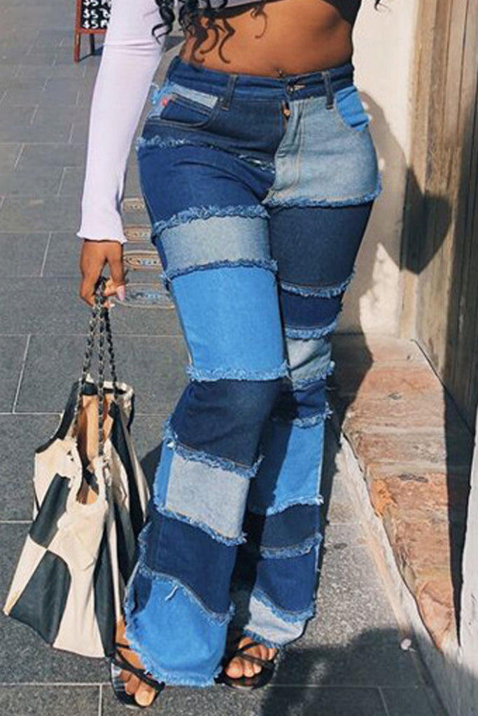 Denim Plus Size Worn Out High Waist Flared Jeans