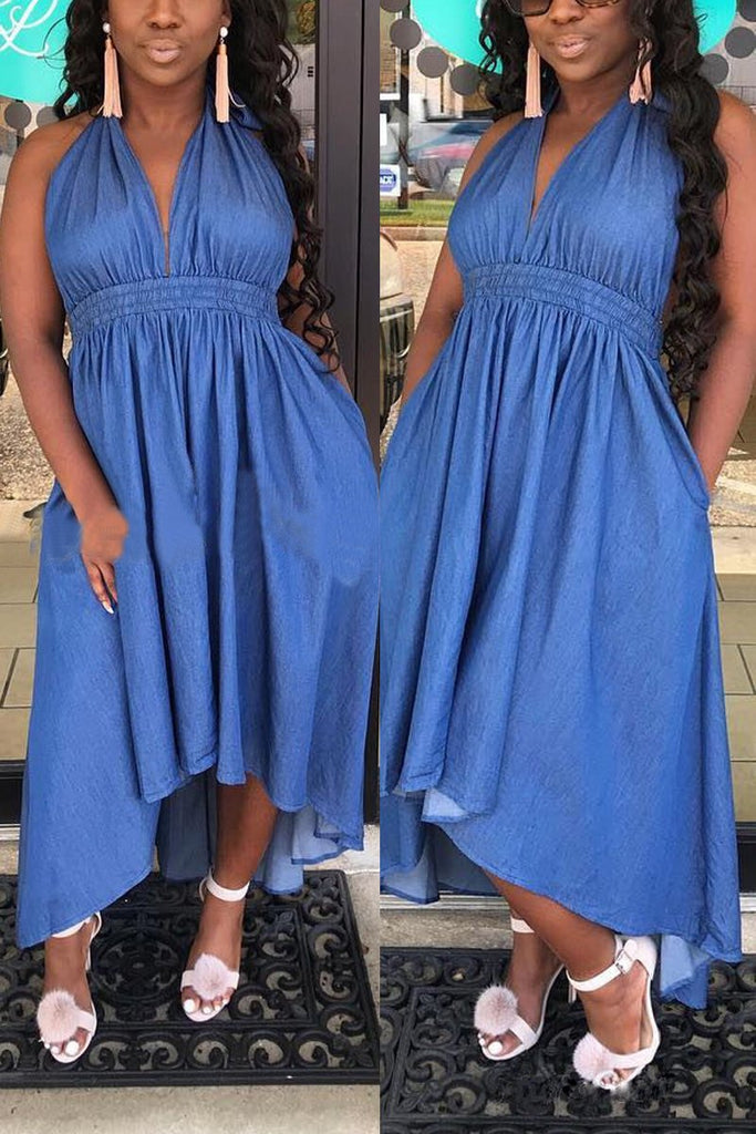 Denim Halter Neck Deep V Neck Midi Dress