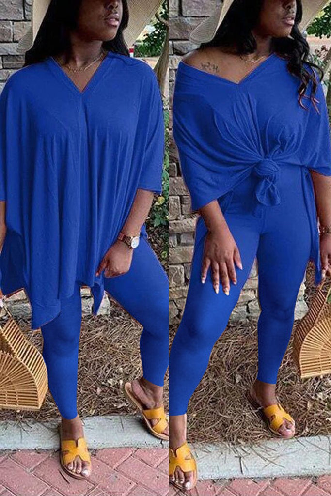 Plus Size Side Slit V-neck Solid Top & Pants