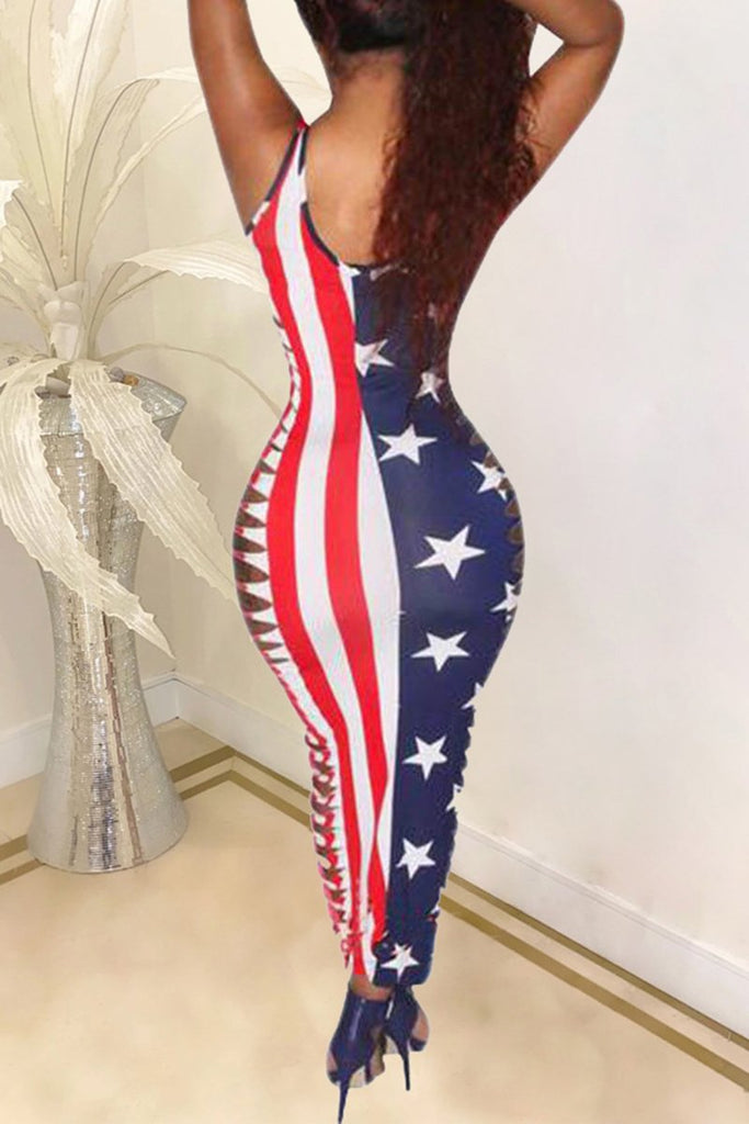 Distressed American Flag Print Plus Size Dress