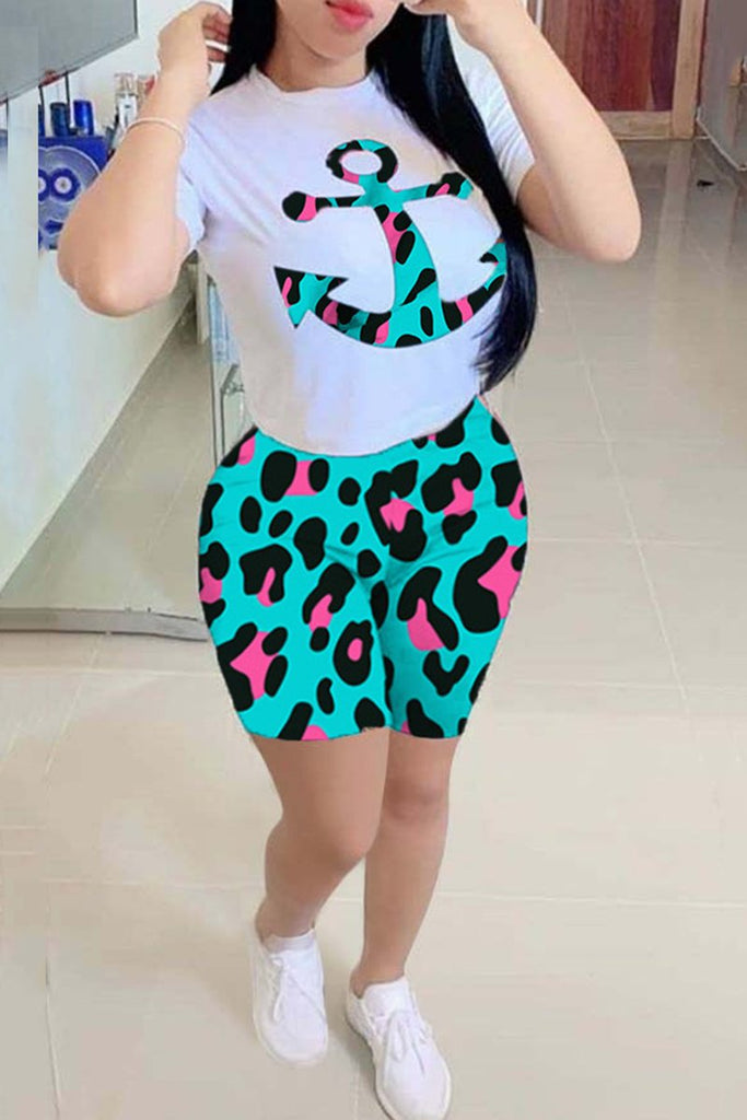 Leopard Anchor Print Short Sleeve Two Piece Sets