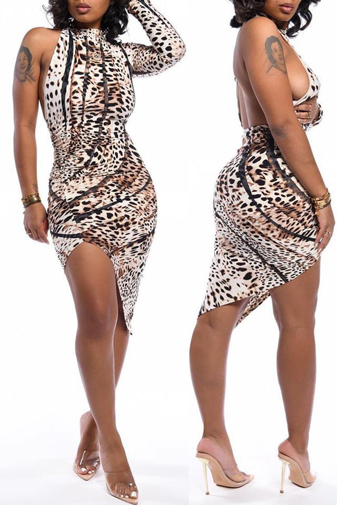 Plus Size Leopard Print Asymmetric Hem Mini Dress