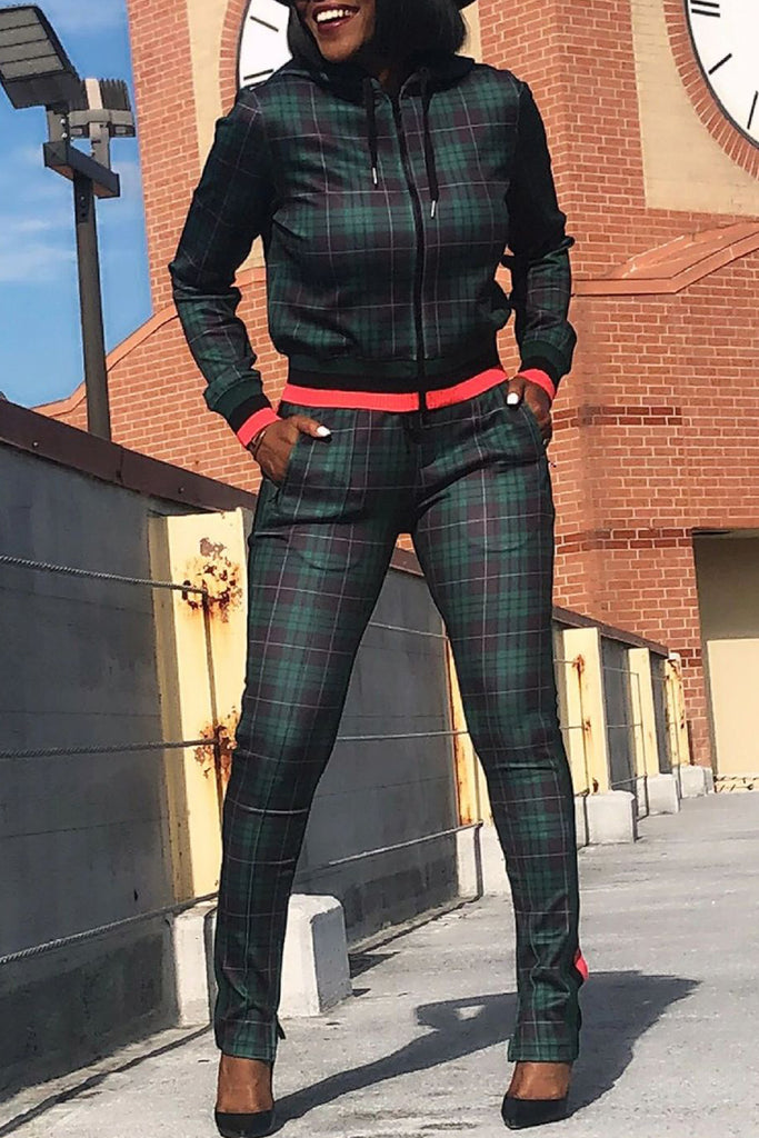 Hooded Collar Plaid Print Two Piece Sets
